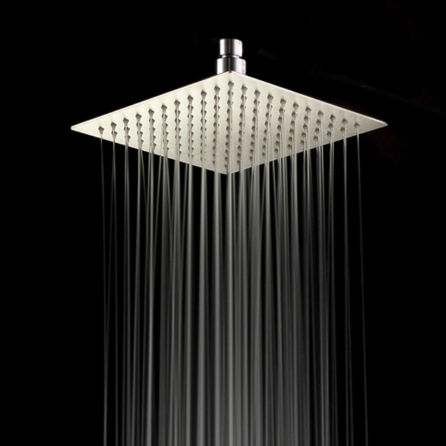 8 Brushed Nickel Rainfall Shower Head For Bathroom Square 20cm Stainless Steel
