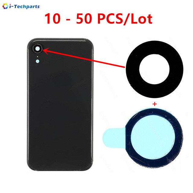 10 - 50 PCS Mobile Phone Parts Rear  Back Camera Lens with Adhesive Sticker for iPhone XR ,Black
