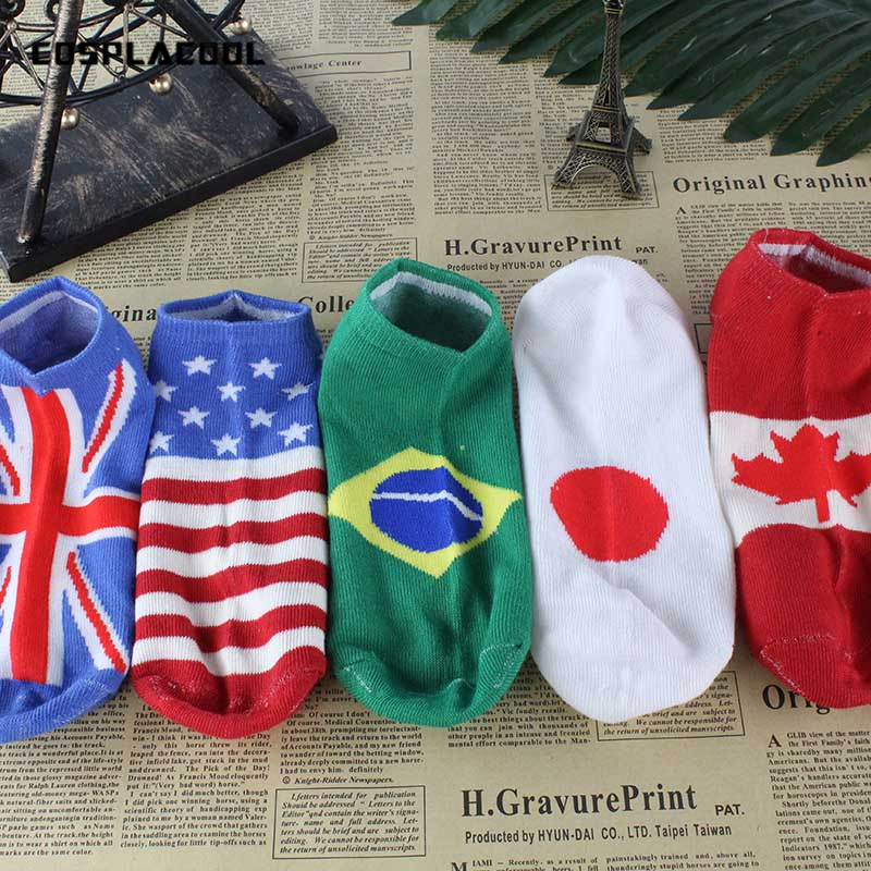 [COSPLACOOL]The Art Abstract Painting Pattern 10 Country National Flag Design   Socks   men cotton unisex ankle breathable Meias