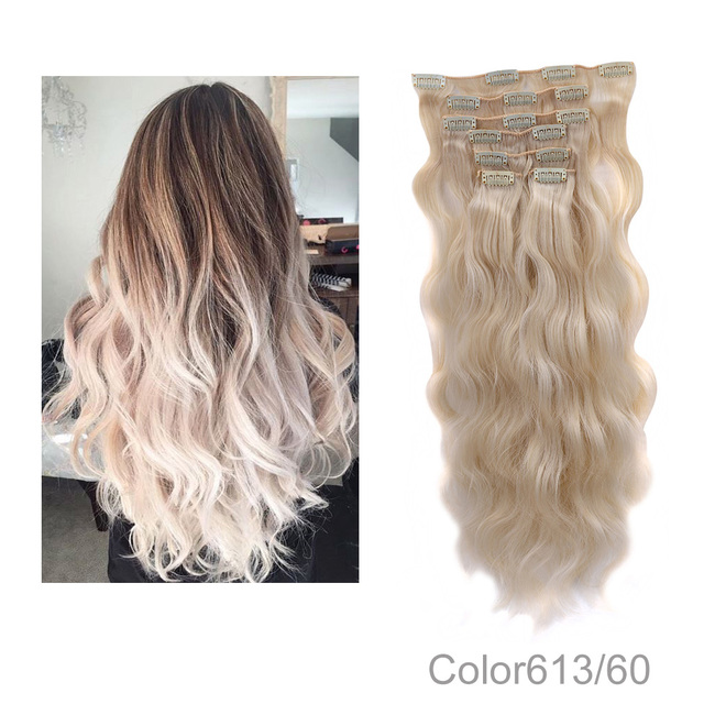 24inch 100 Real Natural Hair Extension 16 Clips On Clip In Hair