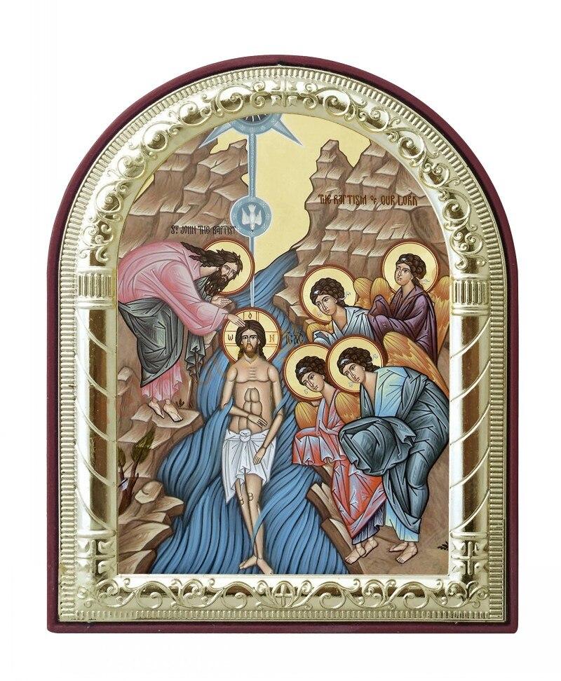 Us 699 Religiöse Symbol Metall Handwerk Orthodoxe Kirche Liefern Theophanie Bilder Rahmen Vergoldet Silber Auf Kunststoffrahmen Taufe Chris In