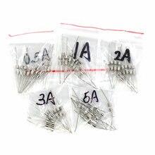 50 шт./лот, 5 значений, быстро выдувные стеклянные трубки предохранители с контактным набором 3x10 мм 0.5A 1A 2A 3A 5A/250 В