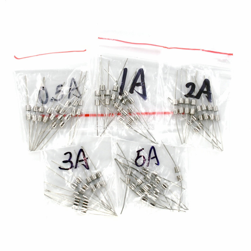 50PCS/LOT 5Values Fast Quick Blow Glass Tube Fuses With Pin Assortment Kit 3x10mm 0.5A 1A 2A 3A 5A/250V