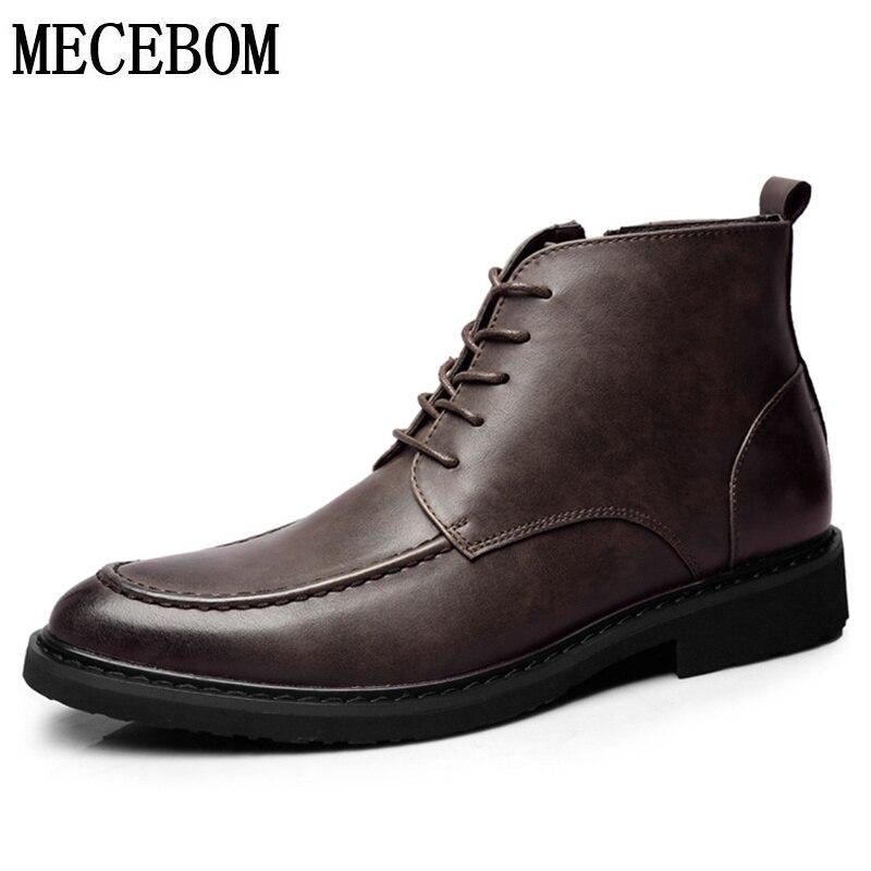 Men's Brand Leather Shoes Split Leather Black Brown Men Ankle Boot Lace-up Comfortable Men Business Dress Shoes size 38-44 515m men s leather shoes vintage style casual shoes comfortable lace up flat shoes men footwears size 39 44 pa005m