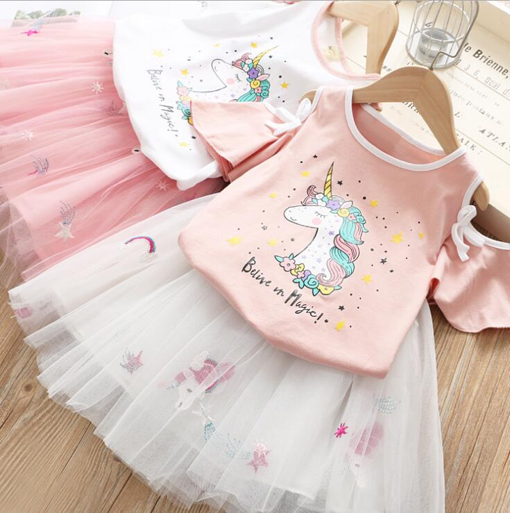 2019 Baby Girls Summer Cute Dress Sets Unicorn Printed T shirt Mesh Skirts 5 sets lot