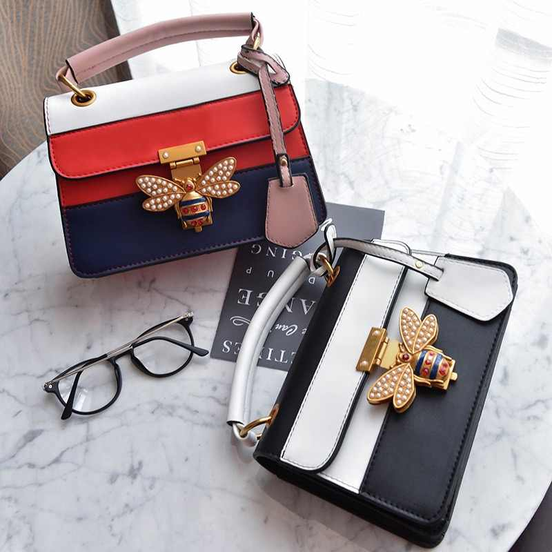 b494df00c0 2018 Luxury Crossbody bag Women Colorful splicing Little Bee Bags Design Handbag  Female Shoulder Bags Messenger