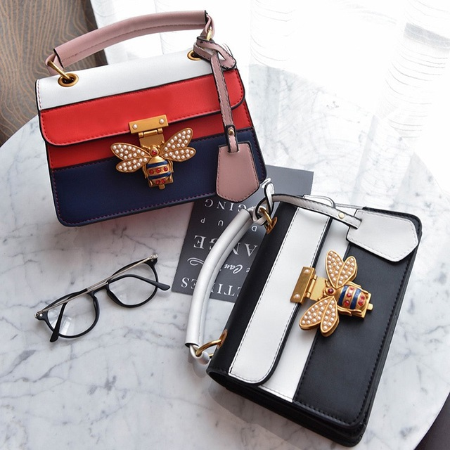 2018 Luxury Crossbody bag Women Colorful splicing Little Bee Bags Design Handbag Female Shoulder Bags Messenger Bag Sac Femme