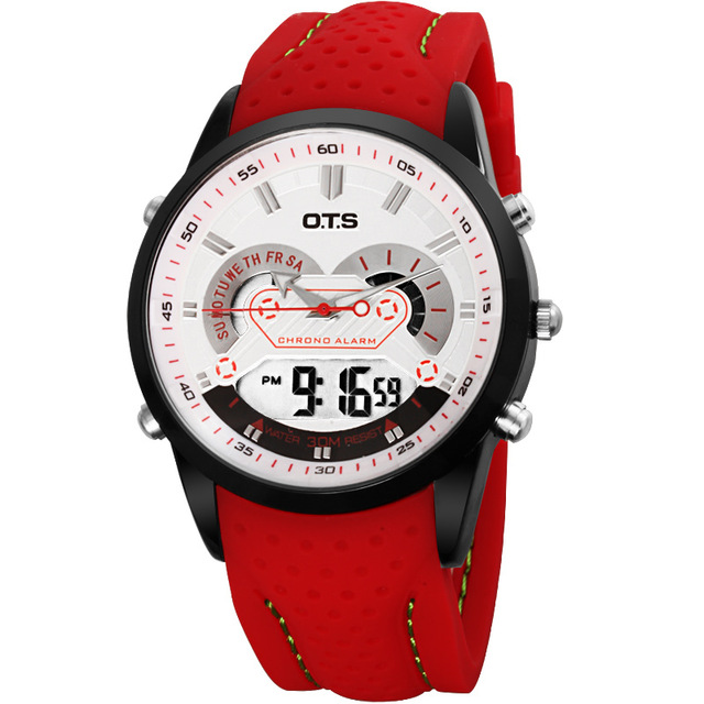 New OTS New Men Fashion Wristwatches Luxury Famous Brand Men's Strap Watch Waterproof LED Digital Sports Christmas gift Watches high quality 30 m waterproof effort new men fashion luxury famous brand men s leather strap sports watch multi time zones