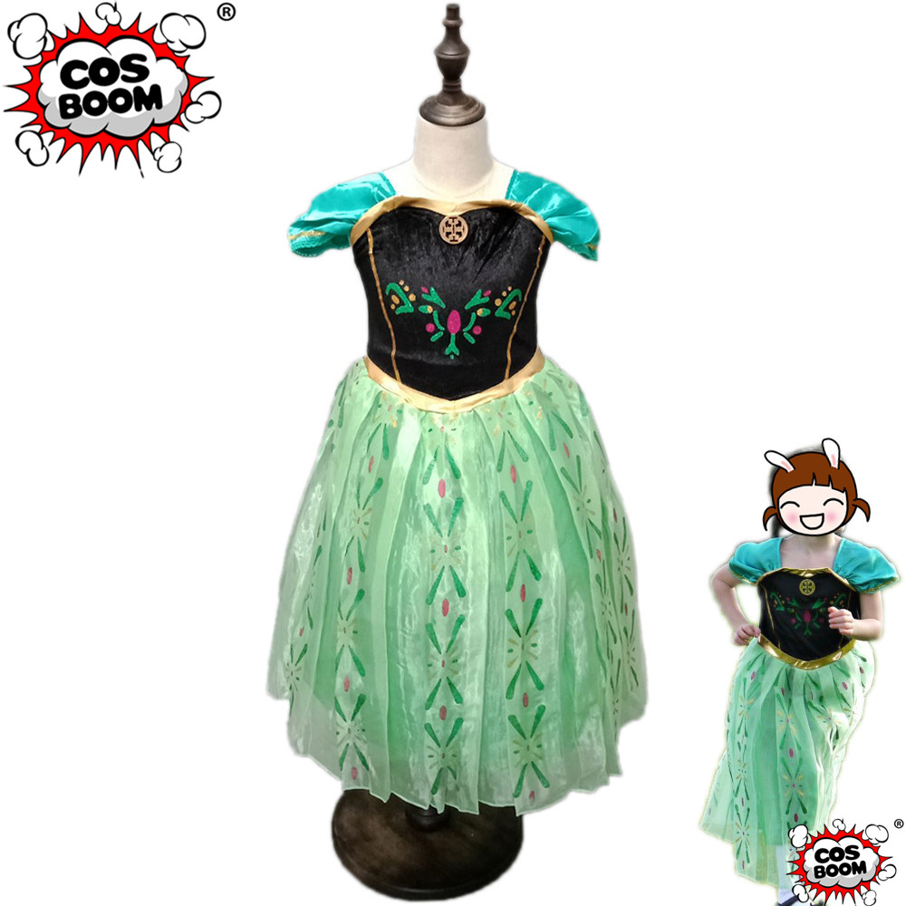 COSBOOM Girls Anna Princess Dress Cosplay Costume Christmas Birthday Gift Party Fancy Dress Carnival Halloween Costume for Kids