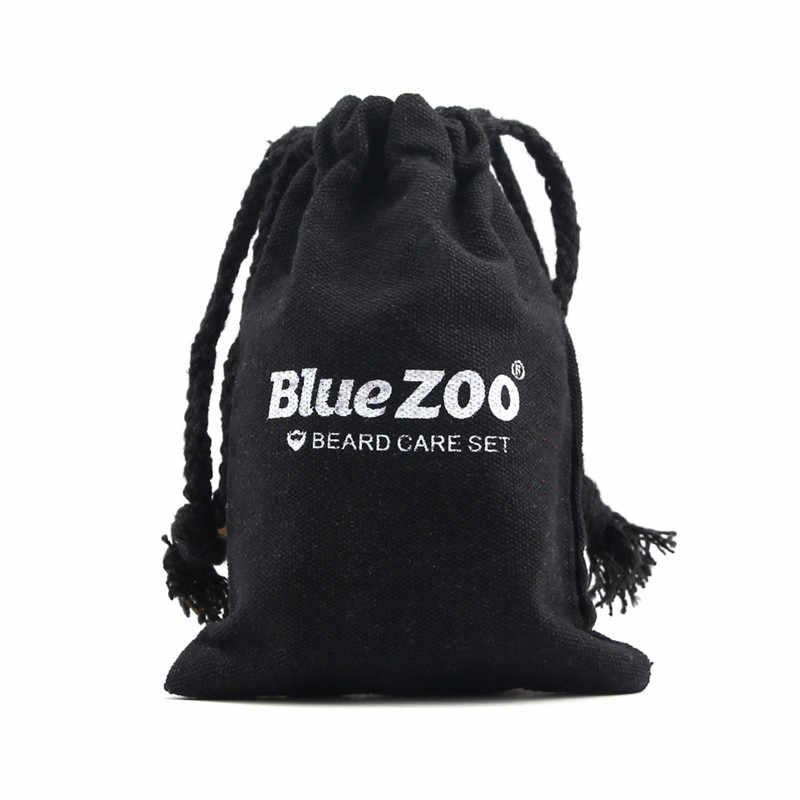 Bleu ZOO Organique Naturel Hommes Barbe Soins Ensemble Cire Huile De Barbe Brosse Hydratant Barbe Kit Hommes pour le Coiffage Lissage Messieurs Soins