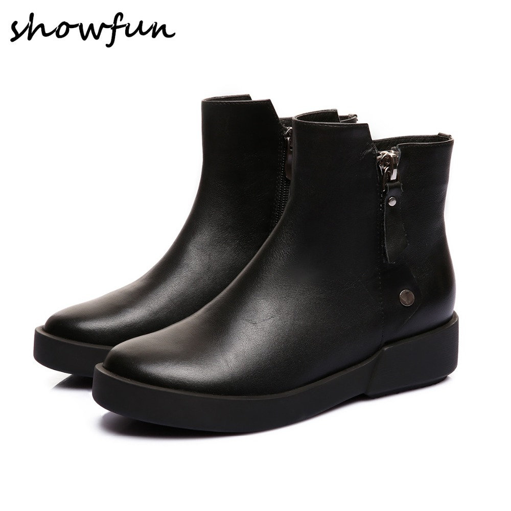 Womens genuine leather double zip flats punk ankle boots brand designer leisure winter waterproof comfort short booties shoes