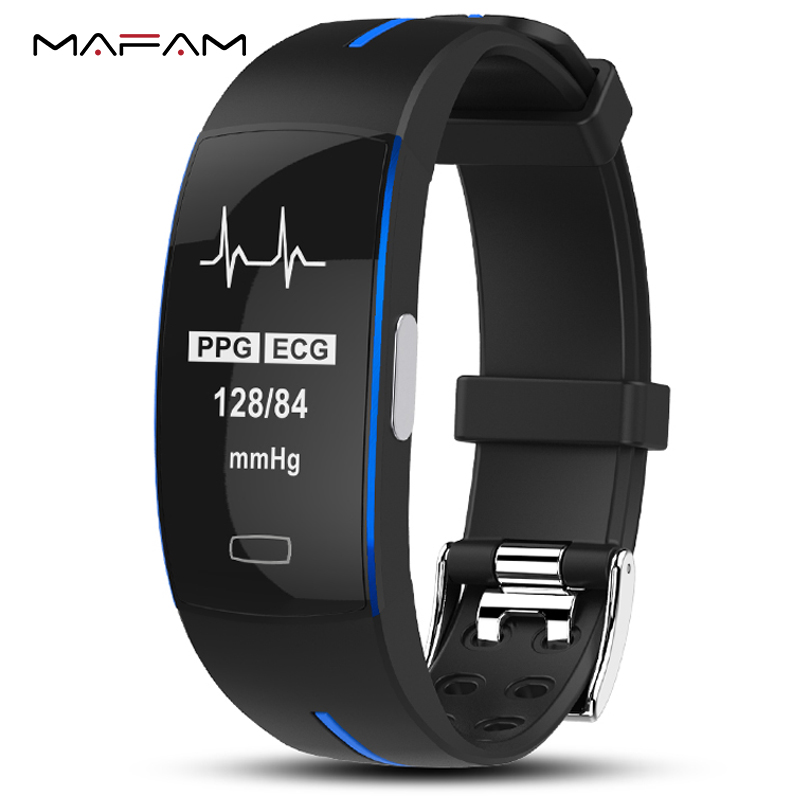 P3 ECG PPG Smart Band Watch Bracelet Blood Pressure Heart Rate Fitness Tracker Monitor Sport Pedometer IP67 Waterproof Wristband