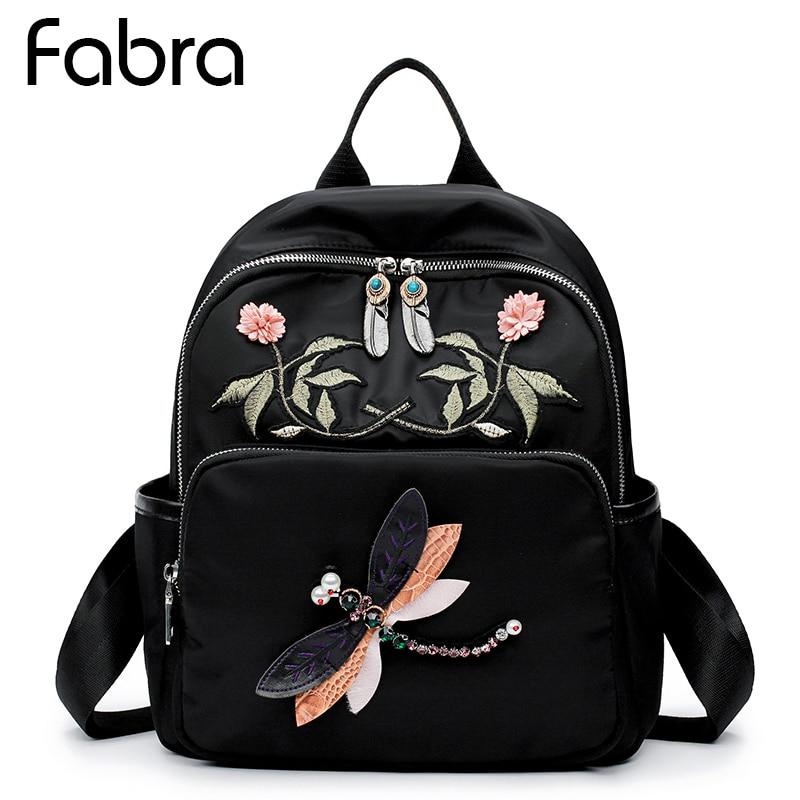 Fabra Brand Women Backpack Waterproof Nylon Embroidery School Bag Students Backpack Women Travel Bags Shoulder Bag Teenager Girl