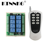 KTNNKG DC 12V 8CH Wireless Remote Switch Receiver Relay Module and 8 Buttons 433MHz remote controls High Power RF Transmitter