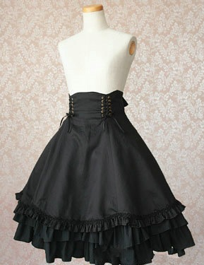 Women Vintage Gothic Lolita Cotton Black Skirt Medieval Victorian Waist Lacing Costume Pleated Bow 3 Layered