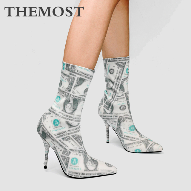 Dollar pattern printed women's ankle boots autumn and winter fashion super high-heeled pointed female boots