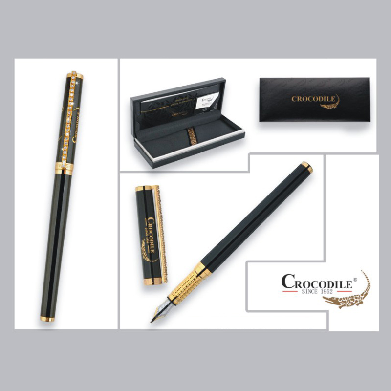 Crocodile 188 Luxury Black and Gold Diamond Clip Fountain Pen with 0.5mm Nib Metal Ink Pens Christmas Gift Free Shipping jinhao black and gold auspicious dragon embossed fountain pen with 0 5mm nib for gift pens free shipping