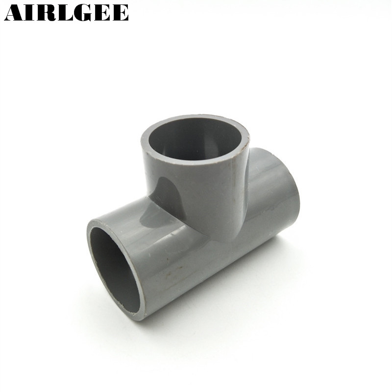 32mm Inner Dia Gray PVC Pipe Connector Three Way Tee shaped Wire Tube Fitting image
