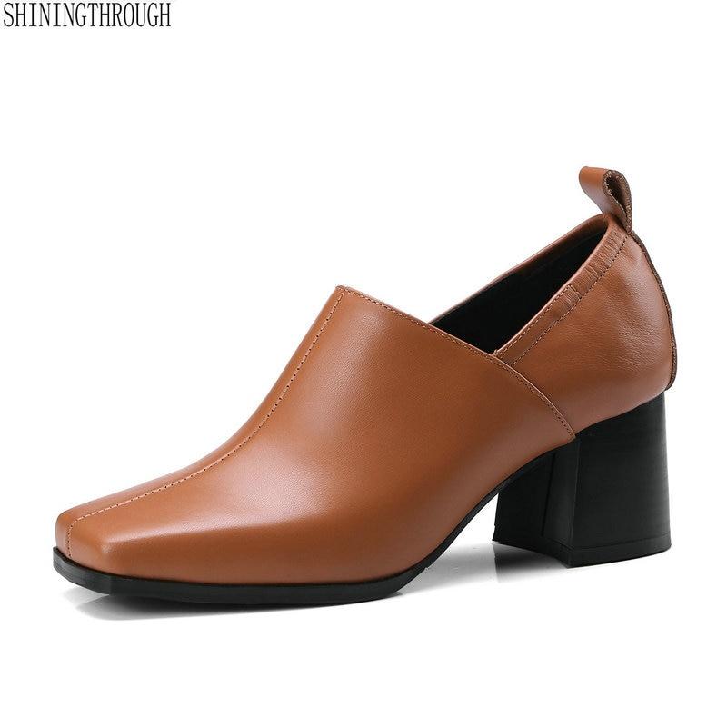 Schwarzes Kleid Dicken Frühjahr 42 Leders Karree 34 2018 Pumpt gelb Frau Herbst Des Big Size Heels Schuhe High Frauen Echten xq7wBUXR
