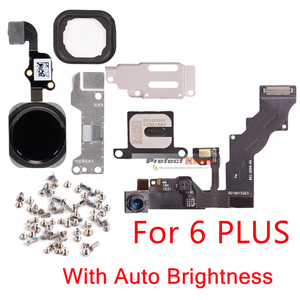 Image 4 - 1set For iphone 6 6s Plus Home Button flex+front camera Sensor Proximity+earpiece+full screws+earpiece metal repair parts