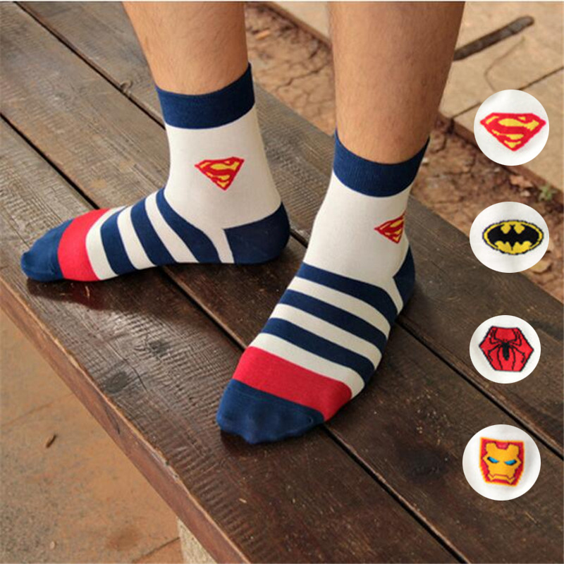 New Hot-sell men socks cotton superman spider-man fashion cotton striped socks high quality mens and male cool color socks