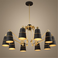 Modern Iron Black 15 Lights Chandeliers E27 110V 220V ForDining Room Living Room Iron Lampshade Droplight