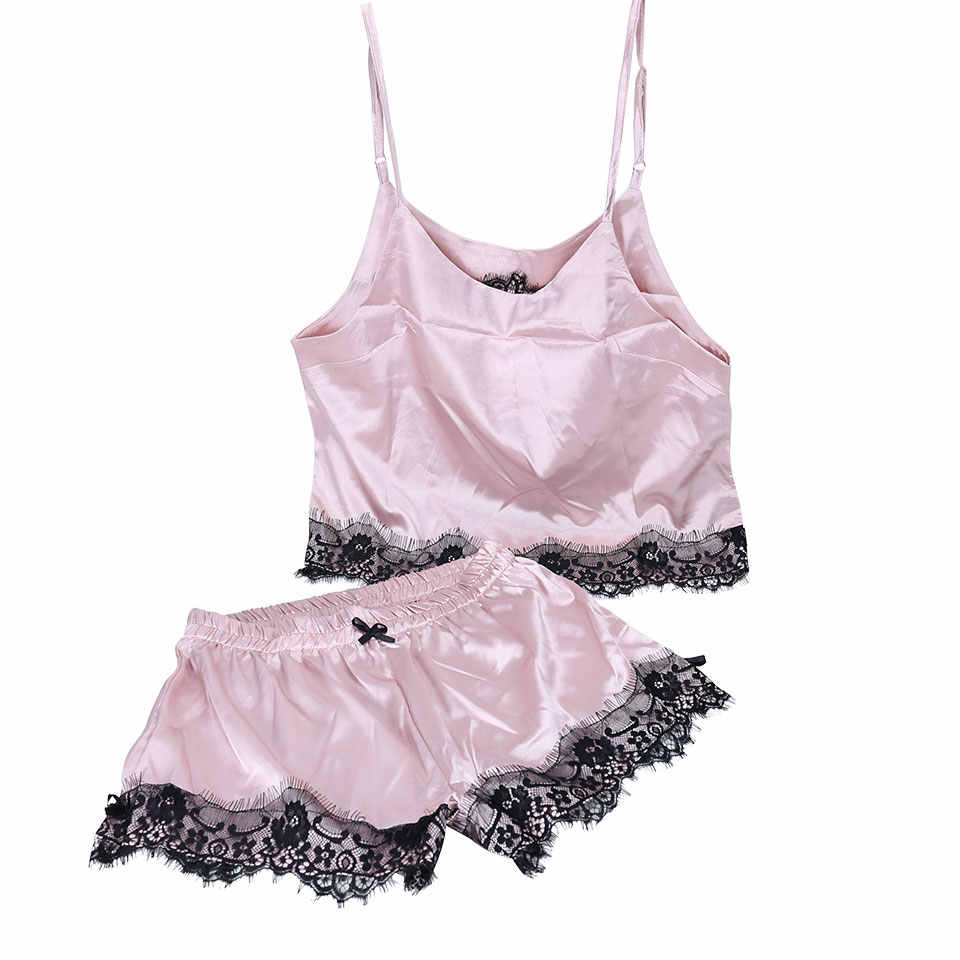 ... Silk Sexy Summer Sleepwear Women Sleeveless Lace pijama Set Spaghetti  Strap Pajamas Satin Top and Shorts ... bbf667cdd