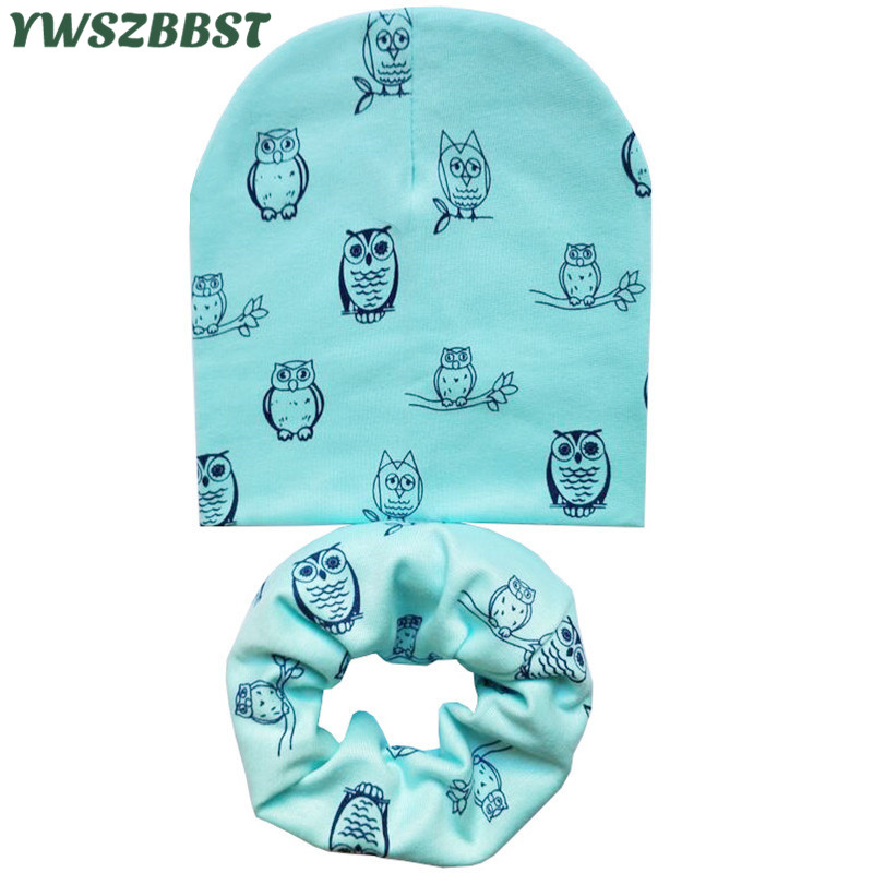 Autumn Winter Children Hats Set Boys Girls Child   Beanie   Cap Scarf Owls Snowflake Love Heart Dots Kids Cap Cotton Baby Hat Scarf