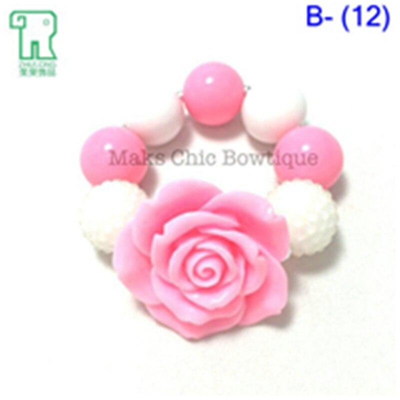 Wholesale Kid Girls Chunky Bracelet Rhinestone Beads Drill Beads Children's Jewelry DIY Princess Bubblegum Bead Bracelet 10PCS