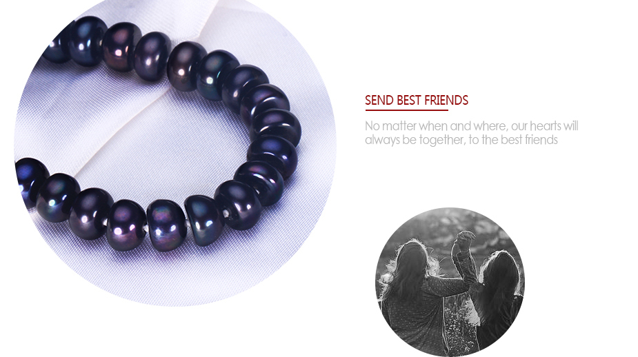 HENGSHENG 2019 New Black Natural Pearl Bracelet For Women,9-9.5 mm Big Bread Round Freshwater Pearl With Cute Love Shape Buckle