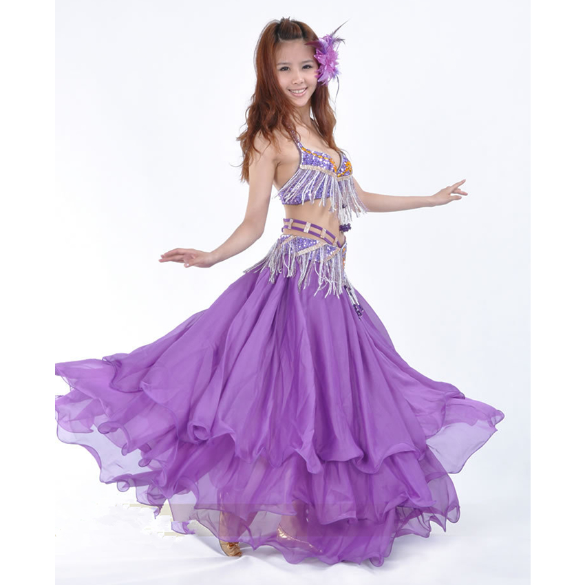 New Sexy Women Long Skirt with Tassels Decoration Off Shoulder Bra Belly Dance Costumes Purple Skirt + Top WN16102625