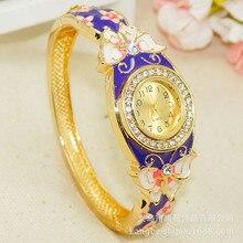 Женский Бренд роскошный браслет с бабочкой Золотое Платье часы народный стиль Леди Золотой браслет эмаль алмаз кварцевые часы-браслет
