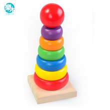 Children Baby wooden toys Rainbow Tower blocks baby's Educational early learning toy model building kits multicolour kids game(China)