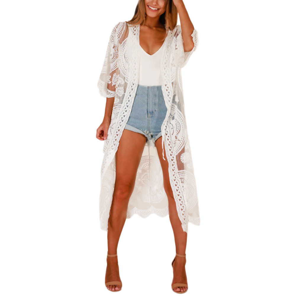 Qiukichonson Embroidery White Lace Cardigan Women 2018 Fashion Boho Bikini Cover Up Ladies Lace Up Sunproof Long Cardigan Summer A Complete Range Of Specifications Cardigans Sweaters