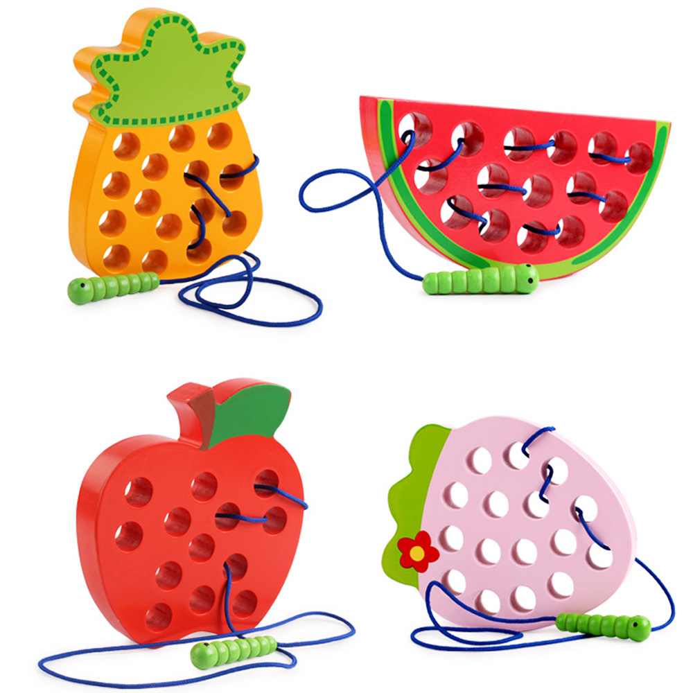 Montessori Kids Educational Toys Fun Wooden Toys Worm eat Fruit Apple Pear Funny Wooden Puzzle Toys for Children Gifts belt