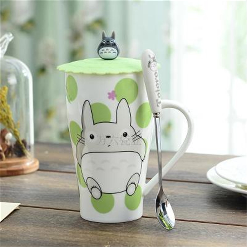 1Pcs 15x9cm 500ml New Creative Cartoon cute cat totoro monkey crayon coffee mugs ceramic Water cup couples cup with lid spoon