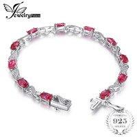 JewelryPalace Love אינפיניטי צמיד טניס 6.8ct סגלגל אבני אודם נוצר תכשיטי חתונה האופנה כסף סטרלינג 925 לנשים מתנות