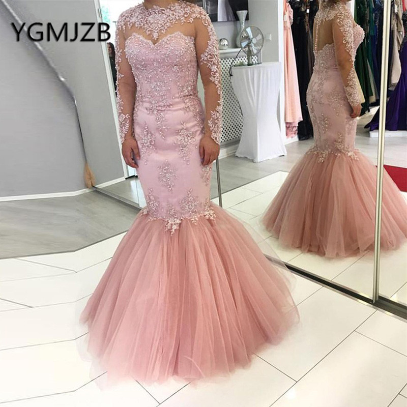 Elegant Long   Prom     Dresses   2019 Mermaid Full Sleeve Appliques Lace Evening   Dresses   Saudi Arabia Women Formal   Dress   Party Gown