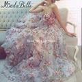 2016 Mulheres Tulle 3D Flor Floral Vestidos de Baile Elegante Longo Rosa Festa de Formatura Robe De Bal Longue Vestidos Para Baile de Formatura