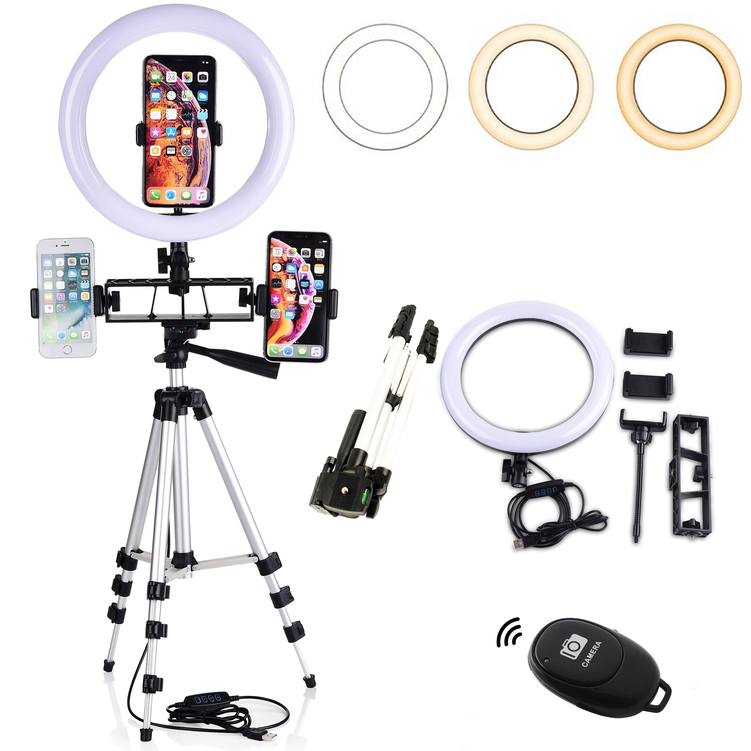 Dimmable LED Selfie lumière annulaire 10 pouces 26cm caméra téléphone lampe pour maquillage vidéo Studio en direct 3 Modes 10 niveau de luminosité