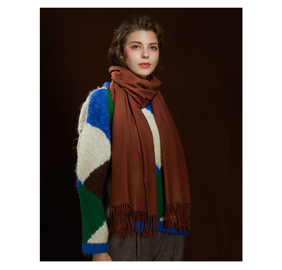Winter Large Tassel Scarf 180cm65cm 23 Colors Wool Knitted Scarves 2019 Autumn 100% Cashmere Long Solid Scarf Women Warm Shawl (13)