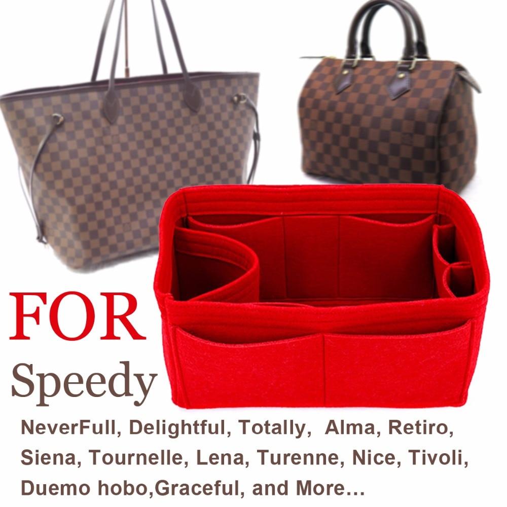 SPEEDY 25 30 35 Felt Cloth Insert Bag Organizer Makeup Handbag Organizer Travel Inner Purse Portable Cosmetic Bags Never Full