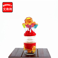 10PCS 1:12 Miniature Food Mini Lollipops With Case Holder Candy For Doll Dollhouse Kitchen Accessories Dessert Sugar