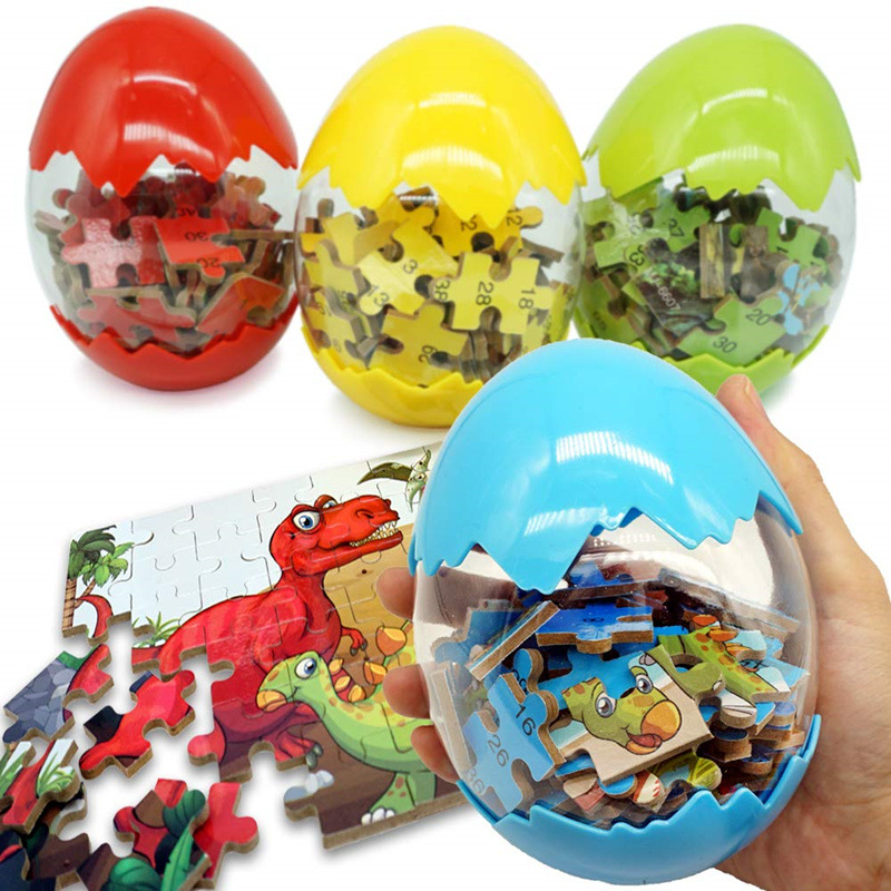 60Pcs Dinosaur Eggs 3D Puzzles Wooden Toys Animal Puzzle Educational Toys Children Kids Baby Gift 2019