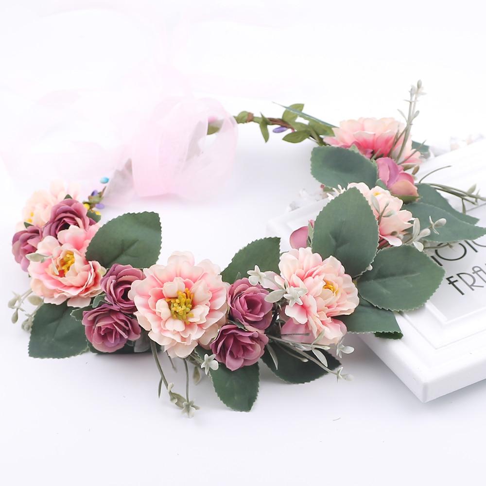 Rustic Bridesmaid Hair Flower Headbands Wedding Hair Accessories Bridal Flower Crown Headpieces Bridal Flower Girls Garland
