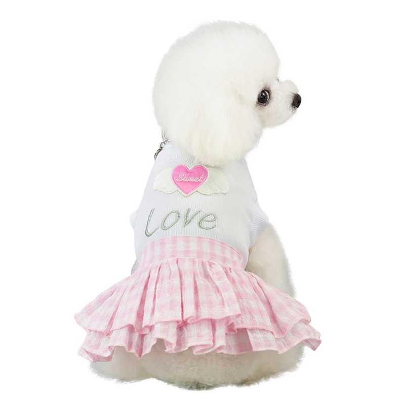 Милая одежда для щенков, клетчатая короткая юбка принцессы, топ с рисунком сердца, платья для собак, Ropa Perro