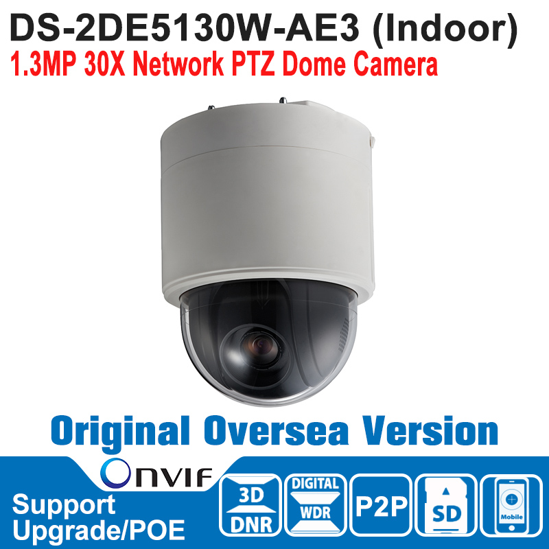 HIK   DS-2DE5130W-AE3 Hik PTZ Camera Outdoor POE 1.3MP 30X Network PTZ Dome Camera Speed Dome Camera P2P H.264/MJPEG DWDR ds 2df7274 ael hik ptz camera 1 3mp network ir ptz dome camera speed dome camera outdoor high poe ip66 h 264 mjpeg mpe