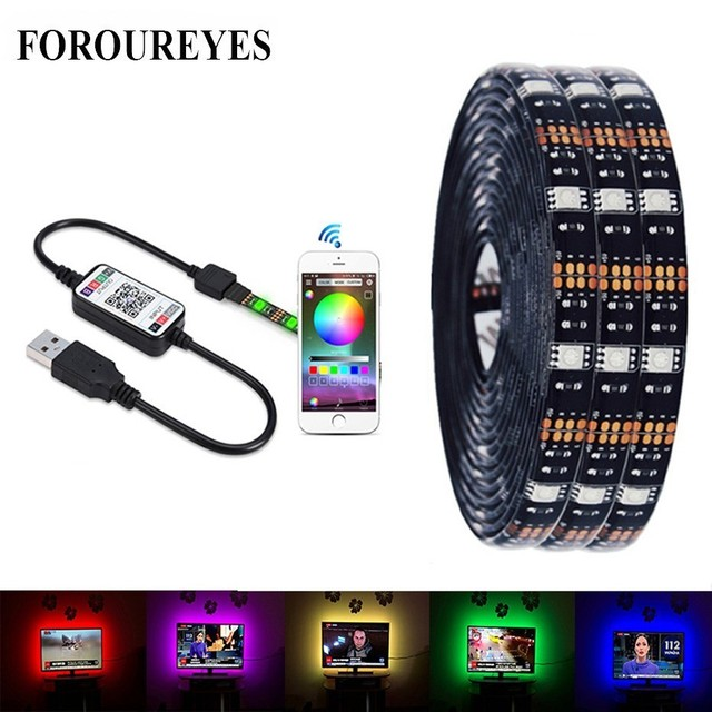 $ US $4.43 USB LED Strip Light SMD 5050 RGB Colorful DC5V Flexible LED Light Tape Ribbon Bluetooth Waterproof TV Background Lighting