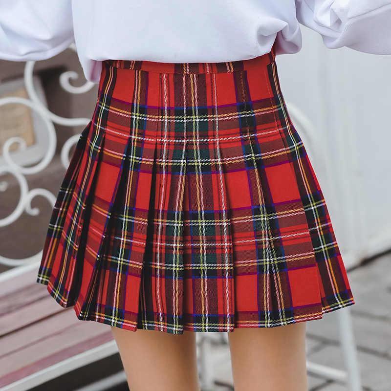 28c6af4b11 Detail Feedback Questions about Harajuku Kawaii High Waist Red Plaid Mini  Skirt Women Summer Korean Fashion Lolita Style Schoolgirl Streetwear Pleated  Skirt ...