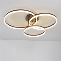Bedroom Living Room Modern LED Ceiling Light Industrial Brown Ceiling Lamp Creative Round Circle Home Decor Lighting Fixture